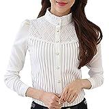 NPRADLA Blazer Shirt Damen Langarm, 2019 Spitzen Einfarbig Bluse Vintage Kragen Plissee Chiffon Button Down