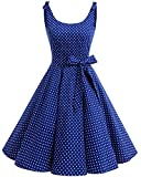 bbonlinedress 1950er Vintage Polka Dots Pinup Retro Rockabilly Kleid Cocktailkleider Royalblue White Dot S