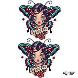 Temporäre Tätowierung/Temporary Tattoo Old School butterfly Reborn girl x2 - ArtWear Tattoo Beauty - B9990 M