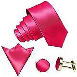 GASSANI 3-SET Krawattenset, 8,5Cm Breite Pinke Rosane Herren-Krawatte Schmal Manschettenknöpfe Ein-Stecktuch, Bräutigam Hochzeitskrawatte Glänzend