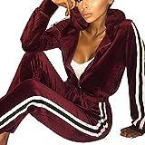 Gym Vintage Damen Sweatshirt Hoodie Streifen Trainingsanzug Frauen Lange Ärmel Zipper Top-Jogginganzug Zweiteiler Set Jacke Hose Sport Yoga Outfit, M, Rot