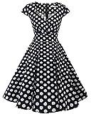 bbonlinedress 1950er Vintage Retro Cocktailkleid Rockabilly V-Ausschnitt Faltenrock Black White BDot XS