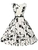 blumenkleid damen vintage abendkleider ballkleider knielang 1950er rockabilly kleid Größe 2XL CL6086-11