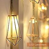 Lichterkette rosegold geometrisch Laterne LED Lampe Vintage-Look Garten-Beleuchtung Retro-Design kupfer Balkon-Beleuchtung batteriebetrieben warmweiß