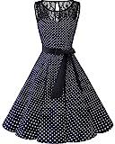 bbonlinedress 1950er Ärmellos Vintage Retro Spitzenkleid Rundhals Abendkleid Black White Dot 2XL
