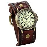 JewelryWe Damen Armbanduhr Vintage Casual Analog Quarz Leder Band Uhr mit römischen Ziffern Zifferblatt Braun