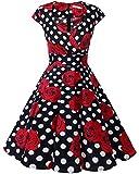 bbonlinedress 1950er Vintage Retro Cocktailkleid Rockabilly V-Ausschnitt Faltenrock Black White Rose L
