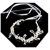 Lalia Vintage Haarschmuck, Hochzeit, Kristall elegant Braut Retrostil Haarband Diadem Haarschmuck klar, Perlen, Satin Band, ivory, elfenbein, off white