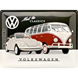 Nostalgic-Art 23255 Volkswagen - VW - Meet The Classics  | Retro Blechschild | Vintage-Schild | Wand-Dekoration | Metall | 30x40 cm