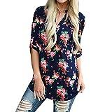 Damen V Ausschnitt Casual Shirts Frauen Druck Muster Bluse Tops (Blume (Marine), L/EU 42-44)