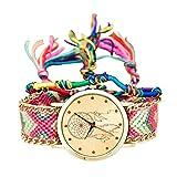 Dxlta Vintage Armbanduhr für Damen Ethnisch Handarbeit Geflochten Quartzuhr Gestrickt Traumfänger Geschenke 10 Farben