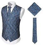 WHATLEES Herren Klassische Paisley Floral Jacquard Weste & Krawatte und Einstecktuch Weste Anzug Set BA0213-Navy-XXXL