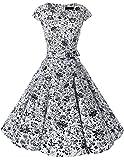 Dresstells Damen Vintage 50er Cap Sleeves Rockabilly Swing Kleider Retro Hepburn Stil Cocktailkleid White Skull L