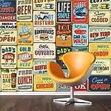 Walplus 152x 161cm Wand Aufkleber Vintage Schild Metall Collage 1Pack Abnehmbarer Wandbild Kunst Abziehbilder Vinyl Home Dekoration DIY Living Schlafzimmer Dekor Tapete, Mehrfarbig