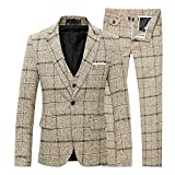 Cloudstyle Slim Fit Herrenanzug Tweed Karriert Fischgräte Design Retro Vintage