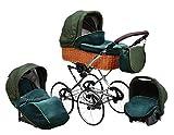 SKYLINE Klassisch Retro Stil Wicker LUX Kombi-Kinderwagen Buggy 3in1 Reise System Autositz (Isofix) (Sea Green/17'Räder)