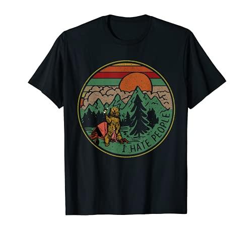 Vintage camping I hate people tee shirt