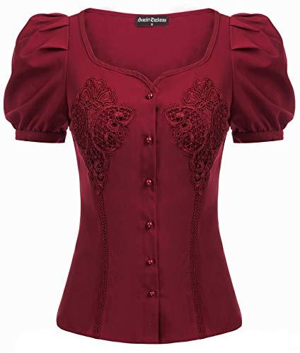 Bluse Damen Vintage V-Ausschnitt...