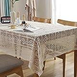 Lanqinglv Beige Spitze Tischdecke 140x140cm Vintage Handarbeit Quadratisch Tischdecke 100% Baumwolle Abwaschbar Elegante Chic Party Gartentisch Tischdecke Tischtuch für Hochzeit Decor
