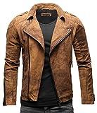 Crone Theo Herren Lederjacke Basic Biker Jacke aus weichem Rindsleder (M, Vintage Braun (Wildleder))