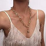 DJG Vintage-Liebhaber Schloss Halskette, Halsketten-Kragen Padlock Lasso Thick-Ketten-Halskette Beste Paar-Schmuck-Geschenk