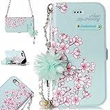 iPhone 6S Plus Hülle,BtDuck Vintage Mode Damen Blumen Blume Kette Tasche Schultertaschen Handtasche Design Brieftasche Damen Cover Stand Kartenfach Handyhülle für iPhone 6S Plus/6 Plus Minzgrün