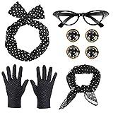 GOLDG 50er Damen Accessoires Set Vintage Zubehr Polka Dot Haarband Schal Ohrringe Ohrclip Brille Handschuhe (6PCS)