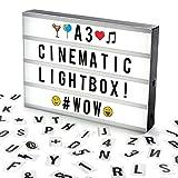 Cosi Home™ A3 Lightbox, Lichtbox, Leuchtkasten mit 120 Buchstaben, Emojis und Symbolen - zum individuellen Gestalten von Nachrichten - LED Deko Leuchtschild im Vintage Kino Design | USB und Batterie