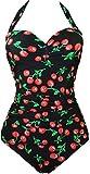 EUDOLAH Damen Badeanzug Figurformende Bademode Neckholder Retro Vintage Push Up Kirschen Cherry (4XL, A-Berry)