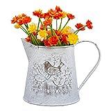 Metall Blumentopf - 13cm Landhaus Stil Blumenvase - Shabby Chic Vintage Vogel Dekorative Pflanzentopf mit Henkel – Französisch Stil Mini-Metall Pitcher für Hochzeit, Wohnaccessoire, Garten Deko