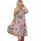 TUDUZ Frauen Sommer Vintage Boho Maxi Abend Party Kleid Elegant Strand Große Größen Blumenkleid (Rosa, L)