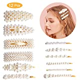 Perle Haarspange Damen,Winpok 12Pcs Perle Haarspange Haarnadeln Haar Klammer Haar Haarspangen Zubehör für Hochzeit Valentinstag Geschenke (12 pcs)