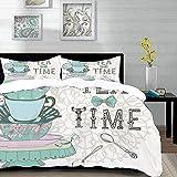 Bettwäsche-Set,Mikrofaser,Dekor,Vintage-Stil Tea Time Party drucken Home Cafe Design Floral Classic Cup-Kolle ,Ultra Soft hypoallergen Bett-Bezug,1 Bettbezug 200 x 200cm + 2 Kopfkissenbezug 80x80cm