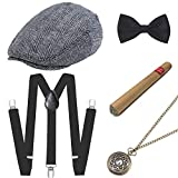 ArtiDeco 1920s Herren Accessoires Mafia Gatsby Kostüm Set inklusive Panama Gangster Hut Verstellbar Elastisch Hosenträger Herren Halsschleife Fliege Taschenuhr und Plastik Zigarre (Set-12)