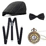 Wagoog 1920s Herren Accessoires Mafia Gatsby Kostüm Set Inklusive Panamahut Verstellbar Elastisch Hosenträger Herren Halsschleife Fliege und Vintage Taschenuhr