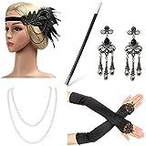 Beelittle 1923er Jahre Zubehr Set Flapper Stirnband, Halskette, Handschuhe, Zigarettenspitze Great Gatsby Zubehr fr Frauen