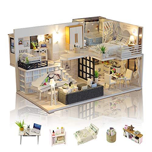 GuDoQi DIY Puppenhaus Miniatur Kit, 3D...