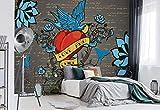 Wallsticker Warehouse Old School Valentin Tätowierung Herz Fototapete - Tapete - Fotomural - Mural Wandbild - (890WM) - XXL - 368cm x 254cm - Papier (KEIN VLIES) - 4 Pieces