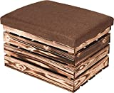 LAUBLUST Sitzhocker mit Stauraum - ca. 50x40x30cm, Braun - Polster Braun | Hocker aus Holz - Sitzbank für Drinnen & Draußen | Aufbewahrungshocker mit Deckel | Sitzpouf & Fußhocker