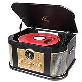 Plattenspieler, DL 7 in 1 mit Bluetooth 2*9W Hohe Energie-Lautsprecher, Vintage-Holz-Vinyl- und MP3/CD/USB/SD/Aufzeichnung/FM/Line Out/AUX Musikzentrum