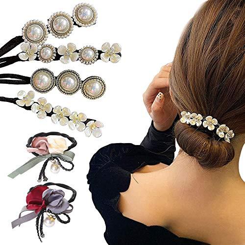 6 Stück Perle Blumen Dutt Maker Damen...