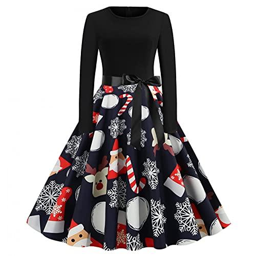 Weihnachten Kleid Damen Elegant Langarm...