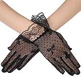 ArtiDeco Damen Lace Handschuhe Satin Braut Hochzeit Spitze Handschuhe Opera Fest Party Handschuhe 1920s Handschuhe Damen Kostüm Accessoires (Kurz Tüpfel Schwarz)