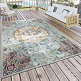 Paco Home In- & Outdoor Teppich Modern Orient Print Terrassen Teppich Wetterfest Türkis, Grösse:60x100 cm